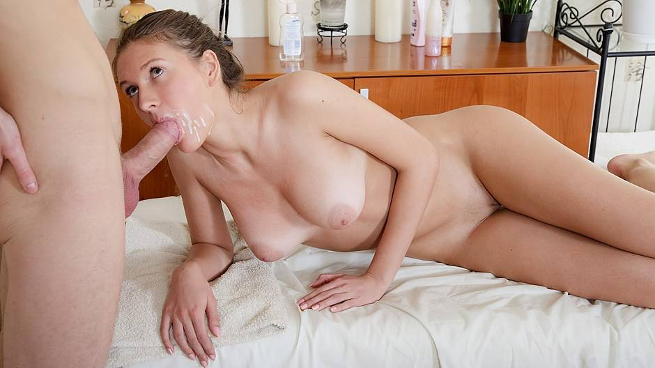Hot bimbo with huge boobs gets splashed on her face during massage sex