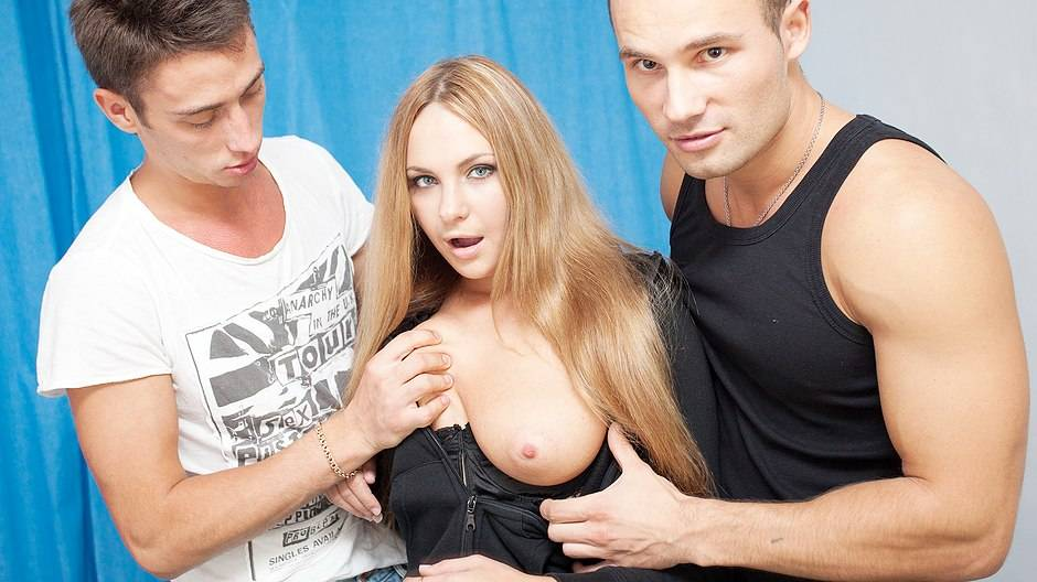 Beautiful girl in hardcore gang bang