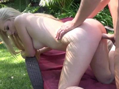 Busty blonde college girl Staci Jaxxx is by the pool and getting pounded hard