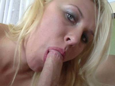Blonde college girl Katie Summers rides a cock and gets her face splattered with cum
