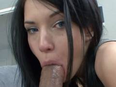 Teen hottie Callie Cyprus bangs an older dude and gets her face splattered with cum