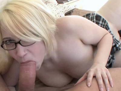 Curvy blonde schoolgirl Ranie Mae gets her pussy pounded