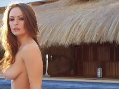 Anastasia loses her bikini in the pool