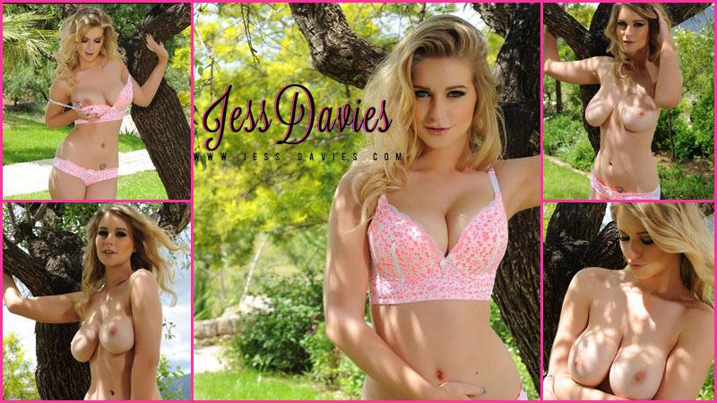 Jess Davies In Her Pink Lingerie In the Garden