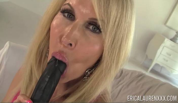 Ericka Lauren playing with Black Dildo