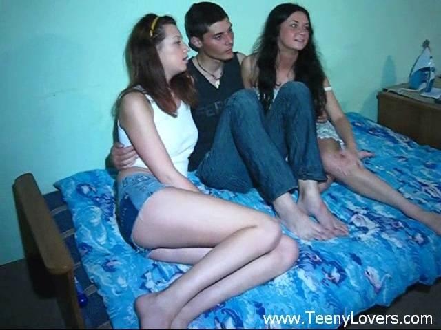 Teens enjoy a good threesome
