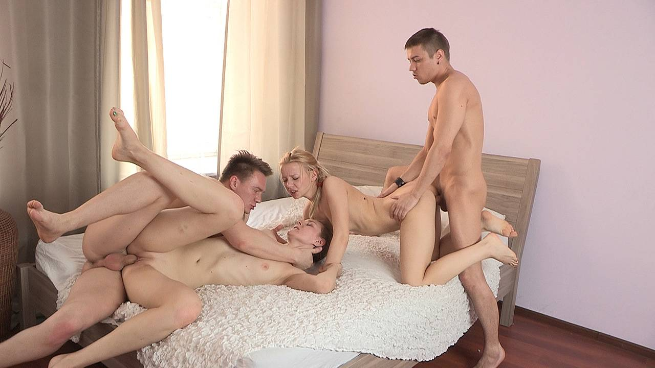 Hot sex party for two couples