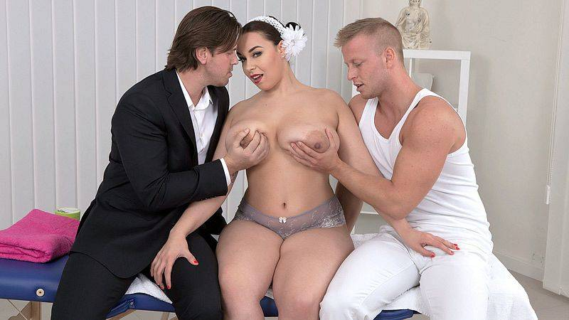 Three On A Massage Table by Anastasia Lux