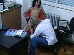 Slutty latin gf sucking her bf in her office