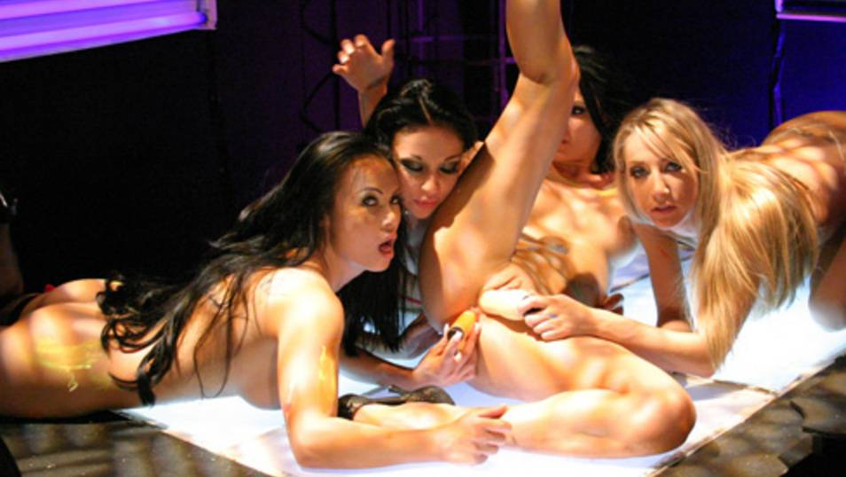 Wild lesbian orgy onstage