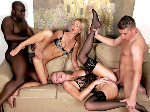 Slutty blondes want black and white cocks at the same time