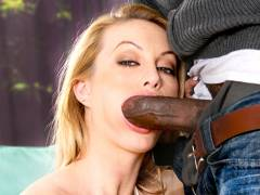 Huge black cock stretches Aline's mouth and pussy