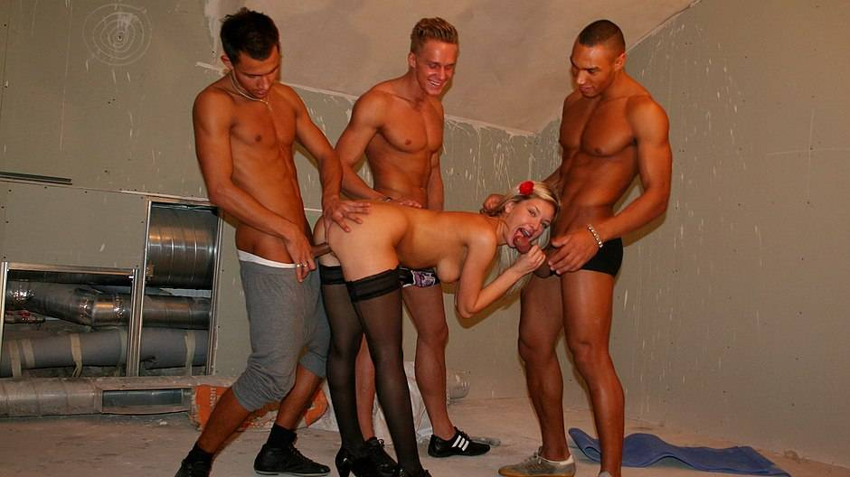 Three dicks for a hot blonde
