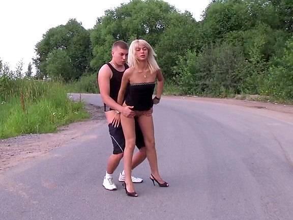 Naughty blonde seduced into public