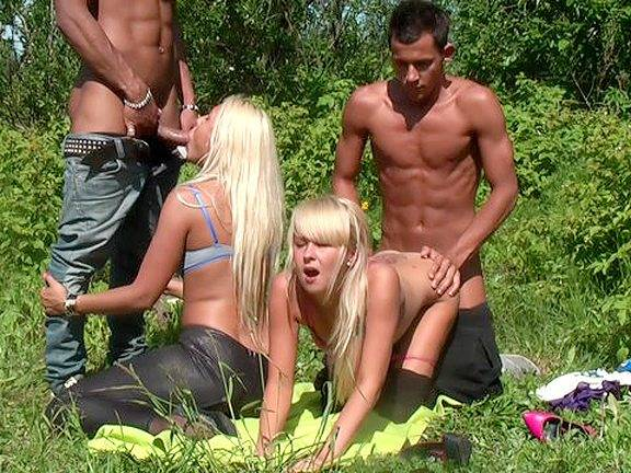Two Russian blondes tricked to fuck