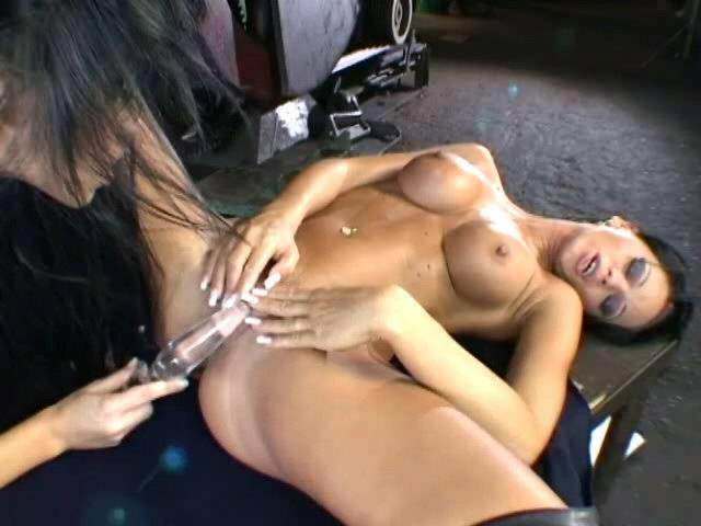Tanned brunette lesbian vixens licking their petite pussies with lust