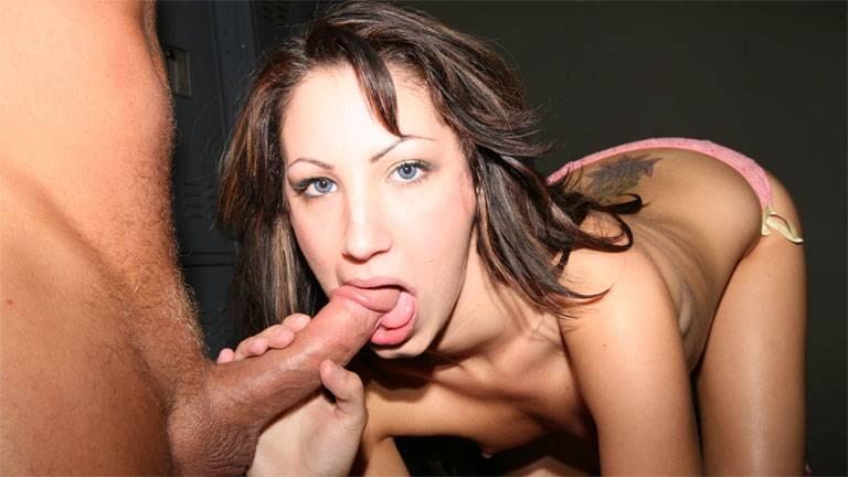 Small tits hottie Chloe Morgan messy blowjob!